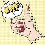 Handen med det lyftta pekfingret på den gula bakgrunden med anförande bubblar för text Kvinnlig hand - som göras i stil för popko Arkivbild