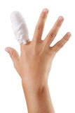 Handen med ett förbundit finger förbinder Royaltyfria Bilder