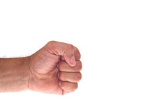 Handen med grep hårt om en näve Fotografering för Bildbyråer