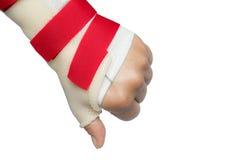 Handen med handleden och tummen spjälkar Arkivfoton