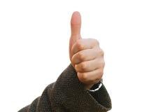 Handen med tummen upp, beskådar framifrån solated på vit baskground arkivfoto