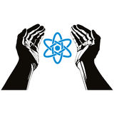 Handen met atoom vectorsymbool Stock Fotografie