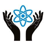 Handen met atoom vectorsymbool Stock Afbeeldingen