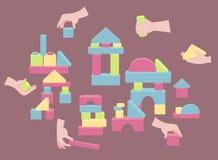 Handen met bakstenen voor houten de torenspel van de blokstapel vector illustratie