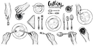 Handen met bestek, vectorlijnillustraties Hoogste mening die over lijst met dinerende mensen plaatsen Royalty-vrije Stock Foto