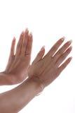 Handen met de Franse manicure Stock Foto