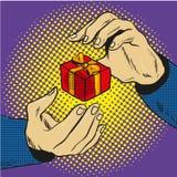 Handen met de grappige vector van het giftpop-art stock illustratie