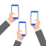 Handen met de illustratiepictogram van de smartphone vlak stijl stock illustratie