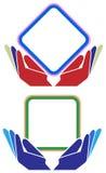 Handen met de vierkante reeks van het kaderembleem Stock Afbeelding