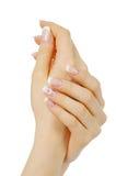 Handen met Franse manicure Stock Fotografie