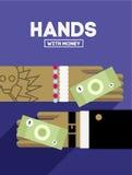 Handen met geld Stock Foto's