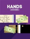 Handen met geld Royalty-vrije Stock Afbeeldingen