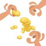 Handen met gouden muntstukken royalty-vrije stock foto's