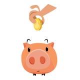 Handen met gouden muntstukken en piddy bank stock foto's