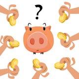 Handen met gouden muntstukken en spaarvarken stock foto