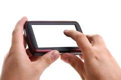 Handen met GPS navigatie op witte achtergrond royalty-vrije stock foto's
