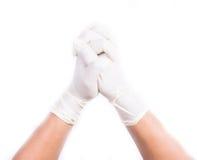 Handen met latexhandschoenen Royalty-vrije Stock Afbeeldingen