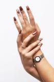 Handen met manicure Stock Foto