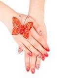 Handen met manicure Royalty-vrije Stock Fotografie