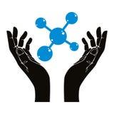 Handen met molecule vectorsymbool Stock Fotografie