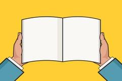 Handen met open leeg boekmalplaatje Vector illustratie Stock Afbeeldingen