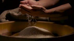 Handen met rijst in langzaam-mo stock video