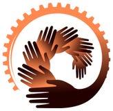 Handen met tandwiel vectorbeeld stock foto