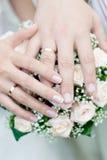Handen met trouwringen Royalty-vrije Stock Foto's