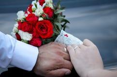 Handen met trouwringen Stock Afbeeldingen