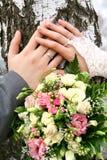 Handen met trouwringen Royalty-vrije Stock Afbeelding