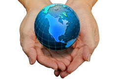Handen met Wereld Stock Fotografie