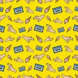 Handen O.K. Band en Roomijs Naadloos Patroon Manierachtergrond in Retro Grappige Stijl vector illustratie