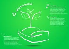 Handen och trädet sparar världsbegreppet Royaltyfri Foto