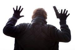 Handen omhoog met kanon royalty-vrije stock foto's