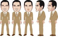 Handen OMHOOG, Vectoren klaar aan animatie, • het karakter van het Jonge mensenbeeldverhaal in formeel blauw overhemd, animatie Stock Fotografie
