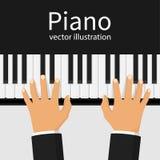 Handen op de pianosleutels vector illustratie