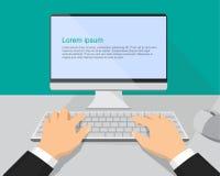 Handen op de toetsenbord en computermonitor stock illustratie