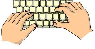 Handen op een toetsenbord Royalty-vrije Stock Afbeelding