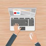 Handen op laptop toetsenbord royalty-vrije illustratie