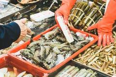 Handen op vissenmarkt stock foto
