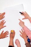 Handen op workshop Stock Afbeeldingen