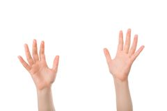 Handen open in gebed Stock Afbeelding