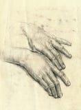Handen, palmen, het trekken Royalty-vrije Stock Fotografie