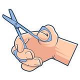 Handen rymmer liten sax f?r att klippa stock illustrationer