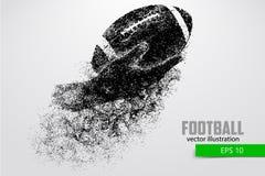 Handen rymmer rugbybollen, kontur från partiklar Arkivfoton