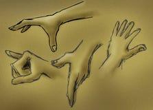 handen skissar Arkivfoto
