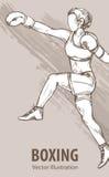 Handen skissar av kvinnor för en boxning Utrustning för skydd av spelaren Grafisk kontur av idrottsman nen på bakgrund stock illustrationer