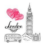 Handen skissar den berömda gränsmärkesamlingen för världen: Stora Ben London, England Arkivbild
