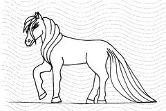 Handen skissar hästen Fotografering för Bildbyråer