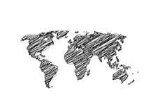 Handen skissar världskartajordklotet Royaltyfri Bild